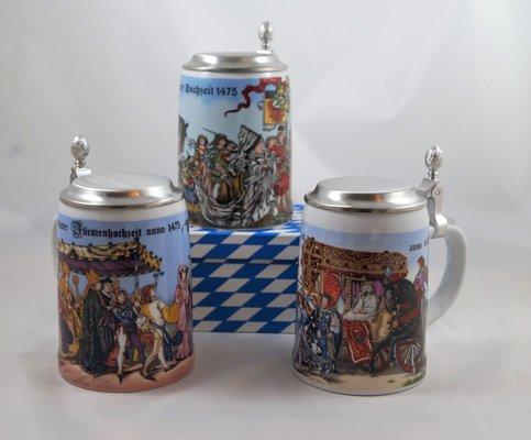 Bierkrug mit Flachdeckel aus Zinn, - Motiv Landshuter Hochzeit 1475