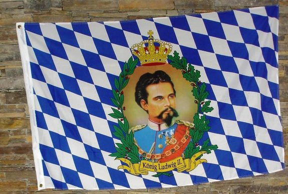 Hissflagge König Ludwig II Größe 150 x 90 cm.