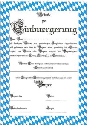 Einbürgerungs Urkunde Bayern